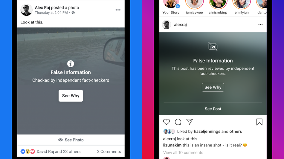 Instagram fact checker with notification of false information on the post