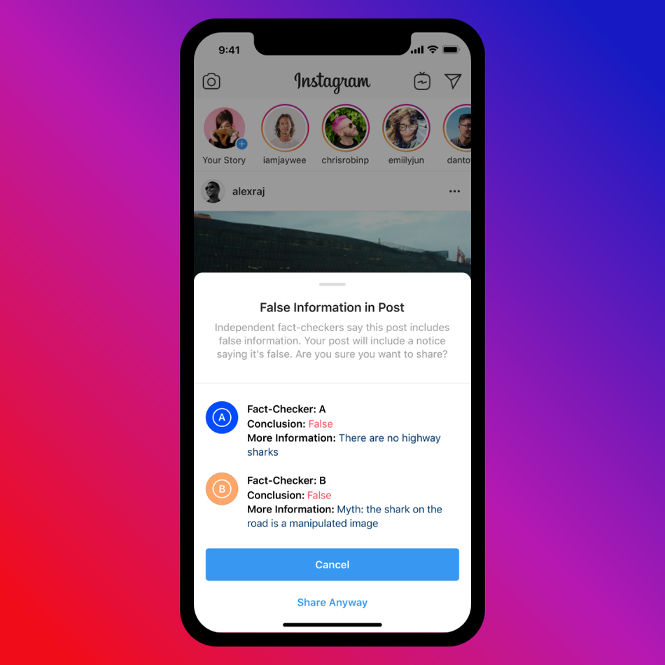 Instagram fact checker notification of false information in post