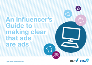 """blue text """"An Influencer's Guide to making clear that ads are ads"""" with illustrations of computer and shopping"""