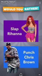 snapchat image showing Rihanna and Chris Brown
